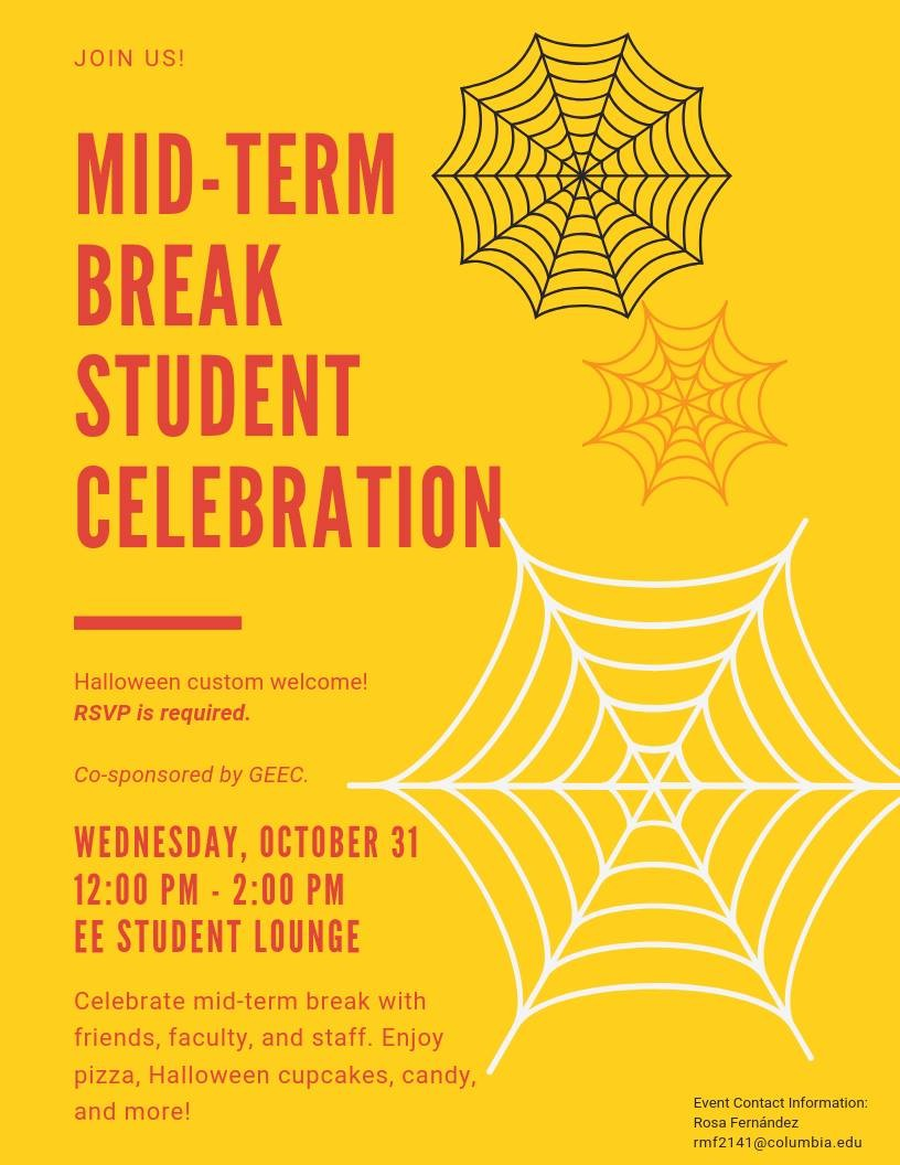Mid-Term Break Student Celebration Event Flyer