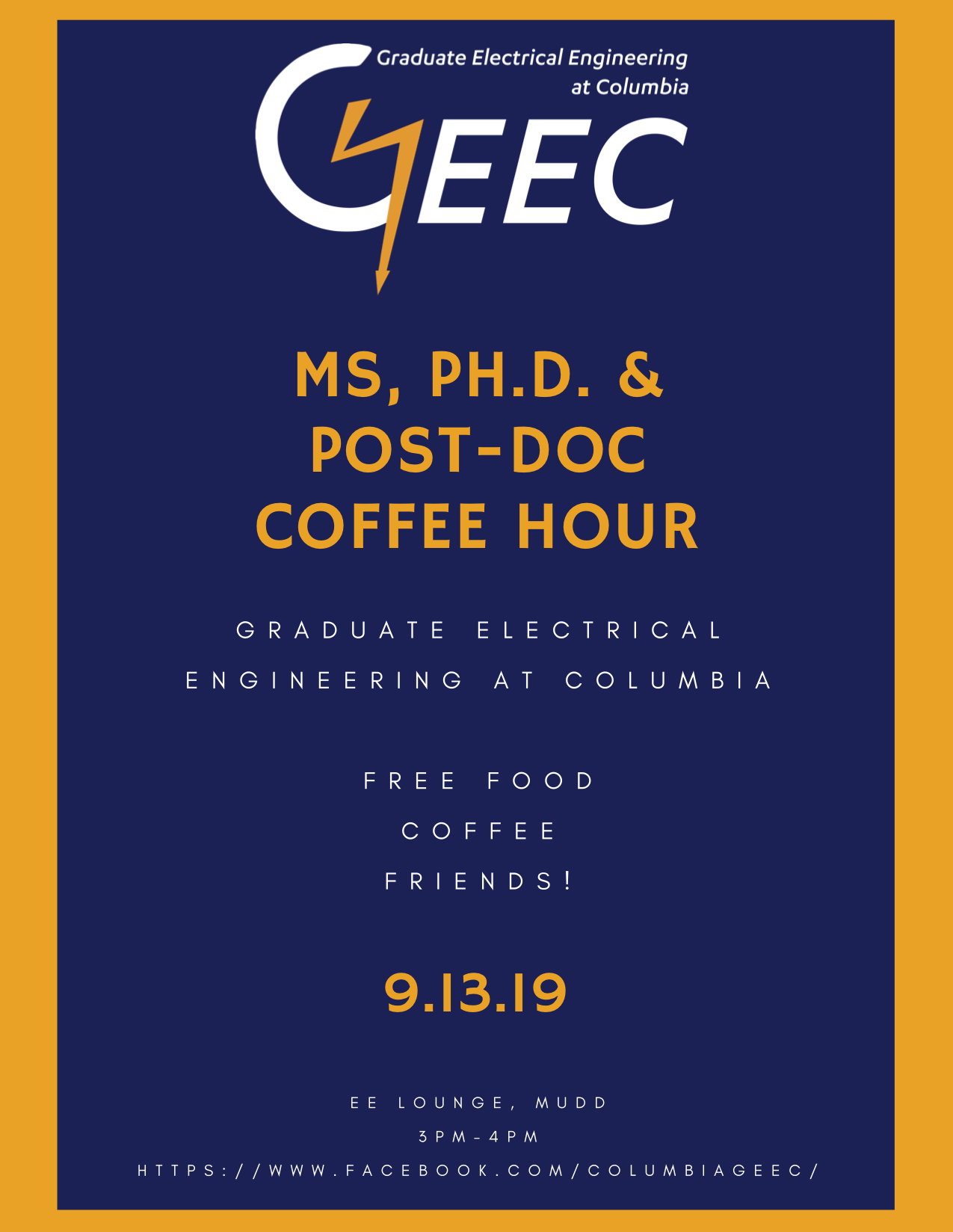 September 09, 2019 MS + PhD Coffee Hour Banner