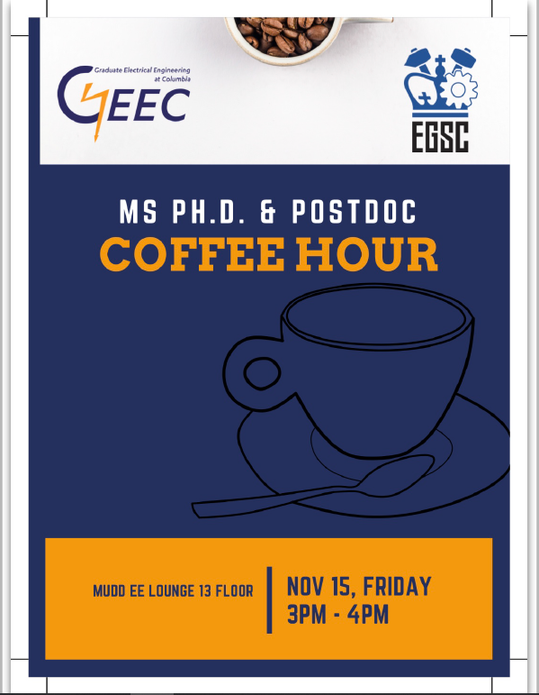 MS, PhD, PostDoc Coffee Hour Fall 2019 Flyer