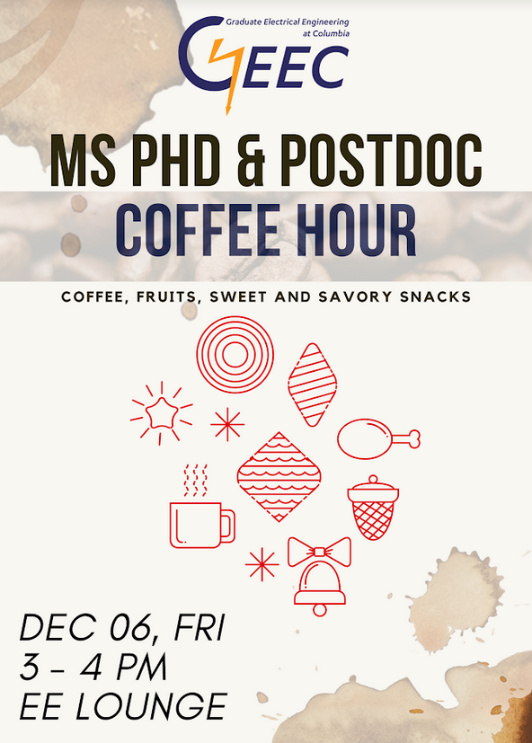 Flyer for the GEEC MS, PhD, PostDoc Coffee Hour - December 06, 2019