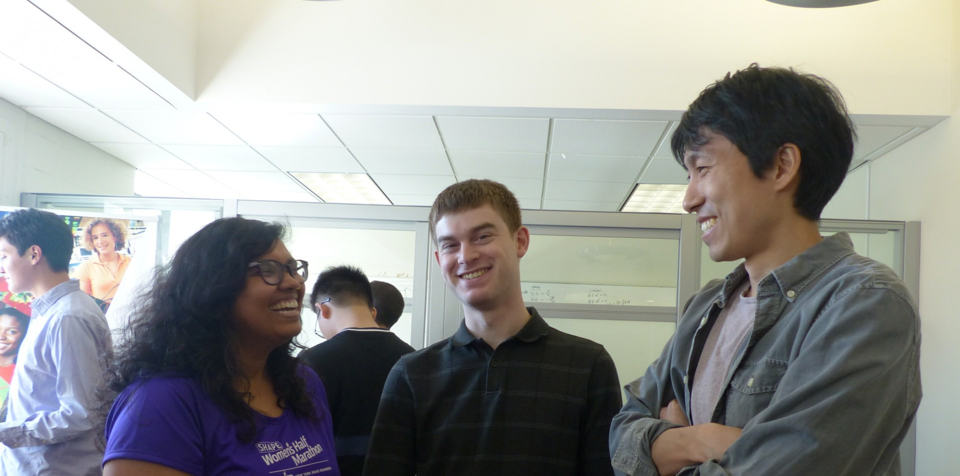 Electrical engineering graduate students socializing during coffee hours