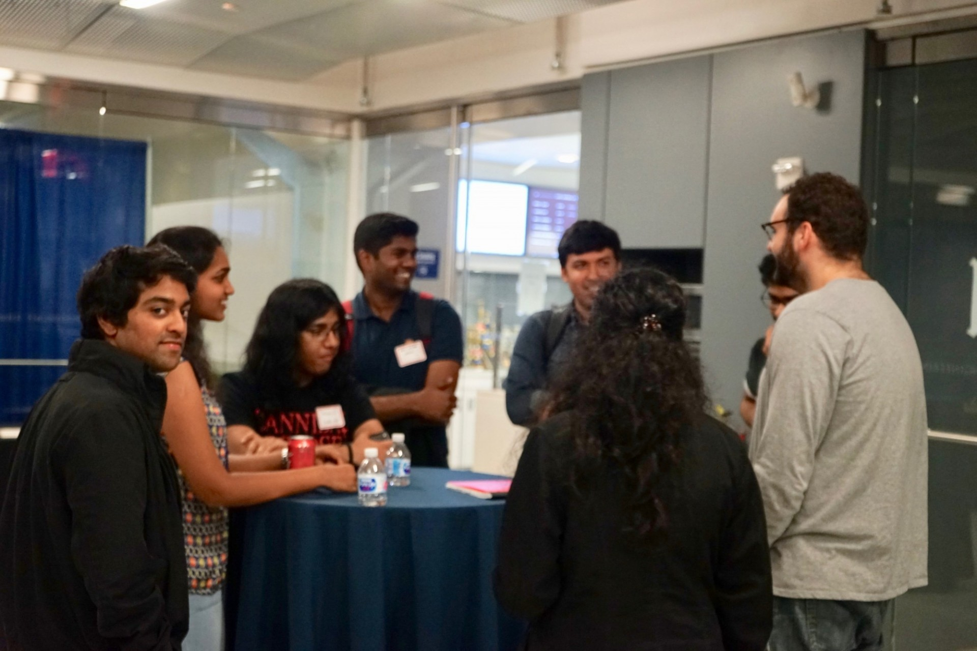 Graduate electrical engineering students socializing at the Graduate Electrical Engineering at Columbia kick-off event