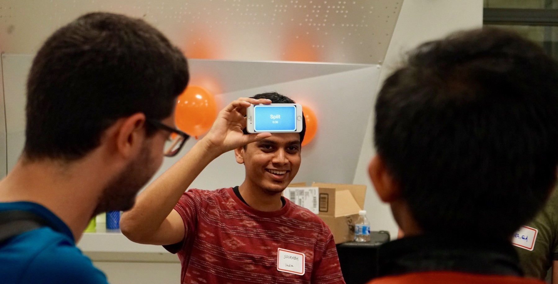 Graduate electrical engineering students playing icebreaker games during the Graduate Electrical Engineering at Columbia kick-off event