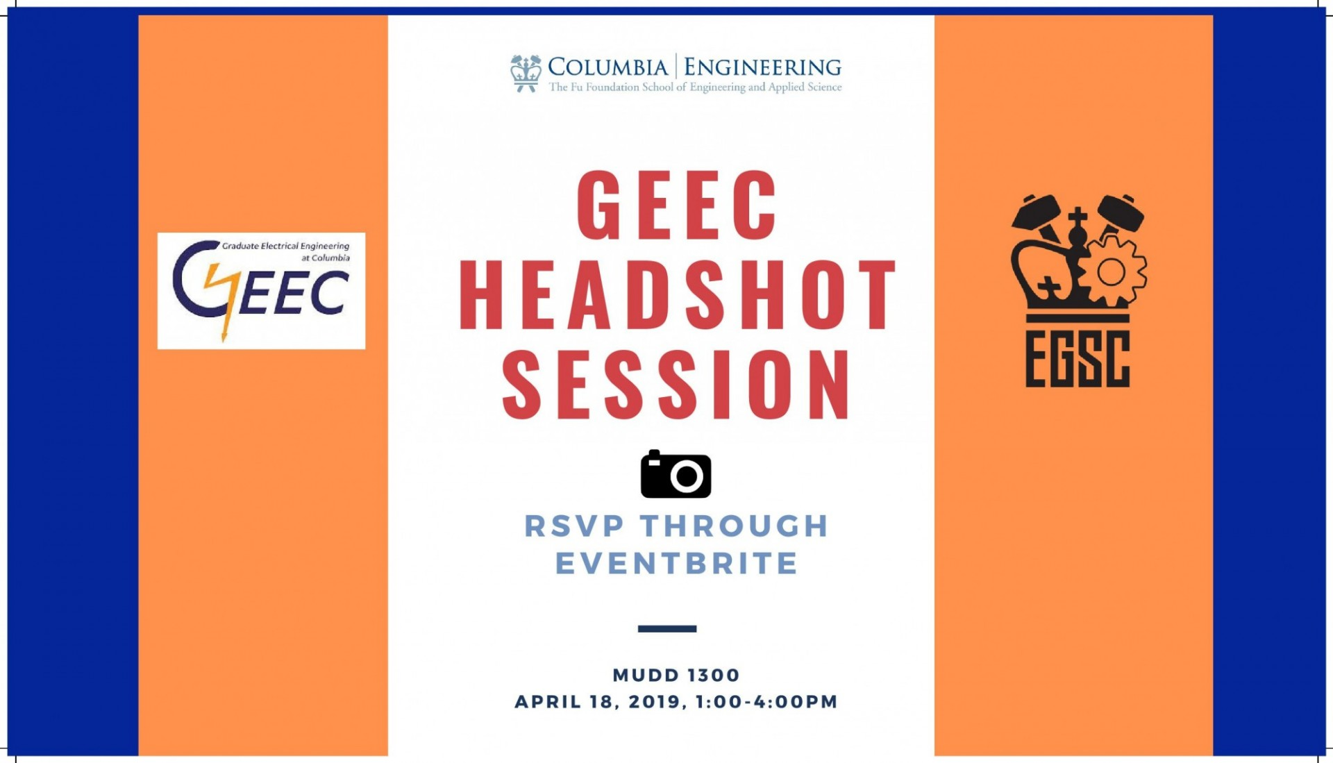 GEEC & EGSC Presents: Headshot Session for Electrical Engineering Students Event Flyer